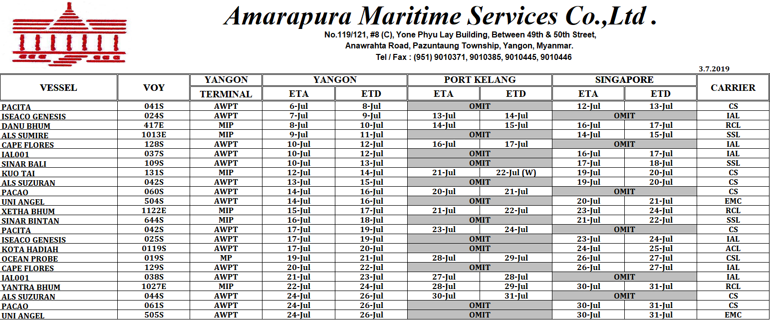 shipping-schedule